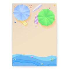 cover design with summer beach in style of cut out vector image