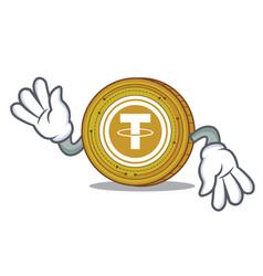Crazy tether coin mascot cartoon vector