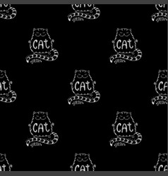 cute cat seamless pattern funny hand drawn vector image