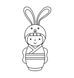 cute japanese doll with a disguise of a rabbit vector image