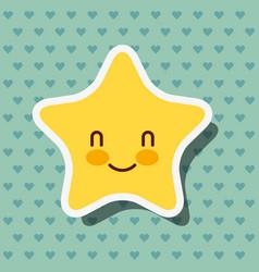 Cute kawaii star smile hearts background vector