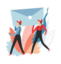 delivery service mail or post deliverers carrying vector image