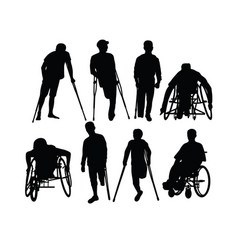 Disabled people silhouettes vector