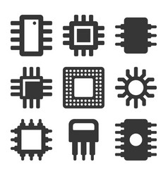 electronic computer cpu chip icons set vector image