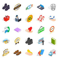 Entrepreneur icons set isometric style vector