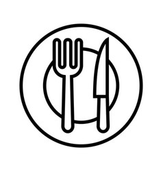 Flatware - fork spoon plate and knife icon vector