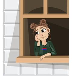 girl dreaming near the window cartoon vector image