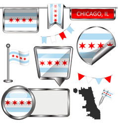 Glossy icons with flag of chicago vector