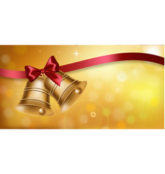 golden bell and red bow realistic back to vector image