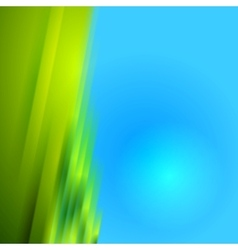 Green blurred stripes on blue bright background vector image