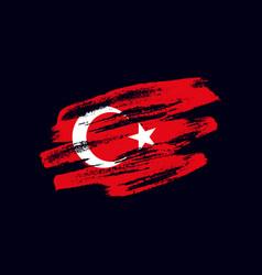 Grunge textured turkish flag vector