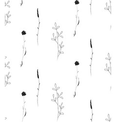 hand drawn rustic floral seamless pattern vector image