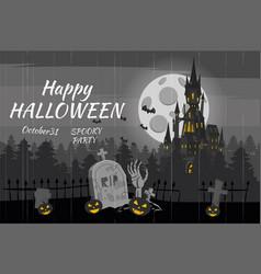 Happy halloween pumpkin in the cemetery black vector