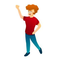 Happy hi boy icon cartoon style vector