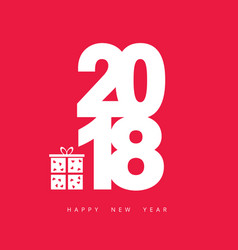 happy new year 2018 with gift box vector image