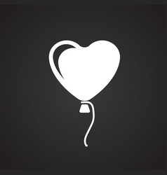 heart shape air balloon on black background vector image