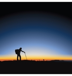 Hiking man and sunrise vector