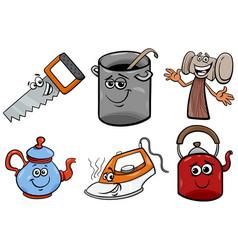 household objects cartoon clip art set vector image