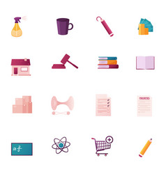 Icons set water sprayer cup and pencil money vector