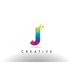 J colorful letter origami triangles design vector