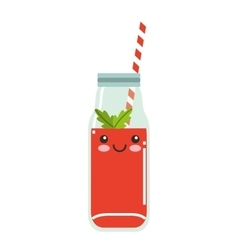 juice fruit character isolated icon vector image