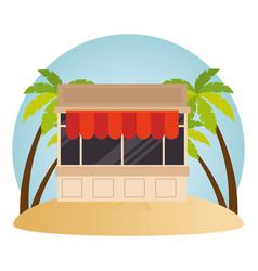 Kiosk facade in the beach vector
