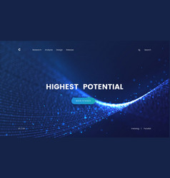 Landing page template with a fantastic blue vector