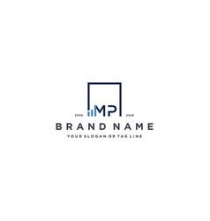 Letter mp square logo finance design vector