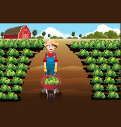 Little boy working in a vegetable farm vector