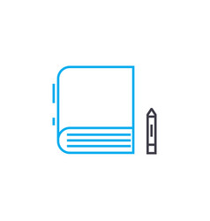 making notes in books thin line stroke icon vector image