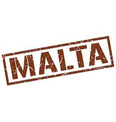 Malta brown square stamp vector image