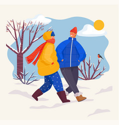 Man and woman wearing warm clothes walking in park vector