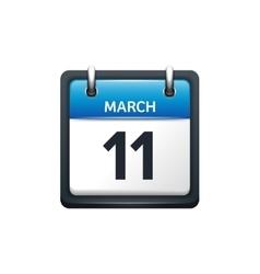 March 11 calendar icon flat vector