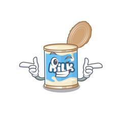 Mascot cartoon design condensed milk with wink vector