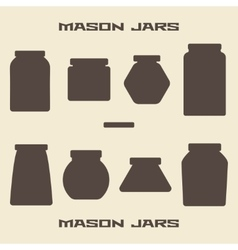 Mason jars silhouette icons set vector image