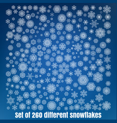 Mega set of 260 different snowflakes eps 10 vector
