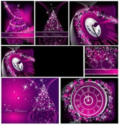 Merry Christmas background collections silver and vector image