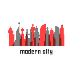 Modern city with colored skyscrapers vector