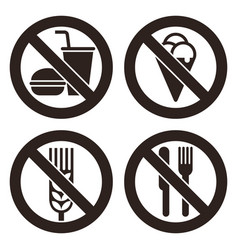 No food and drink prohibited signs vector