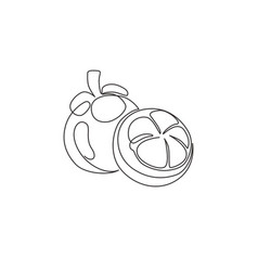 one single line drawing whole and half sliced vector image
