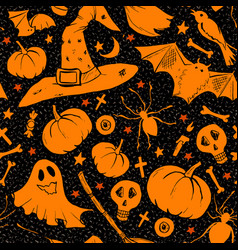 orange halloween pattern with mushrooms with hat vector image