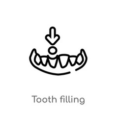 Outline tooth filling icon isolated black simple vector
