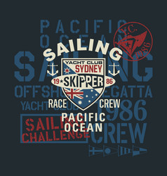 Pacific ocean regatta sailing challenge vector