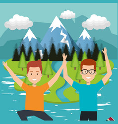 people celebrating in the lake vector image