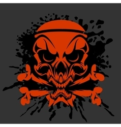 Pirate Skull and crossbones - isolated on dark vector image