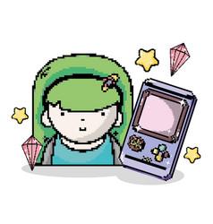 Pixel art tetris videogame vector