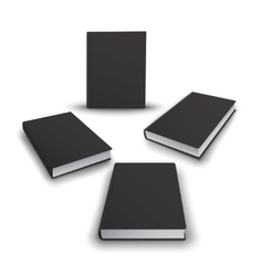 Realistic collection of 3d books with black cover vector image
