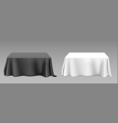 Realistic white tablecloth on tables vector