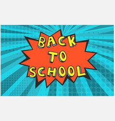 red back to school bubble on blue background vector image