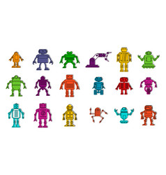 robot icon set color outline style vector image